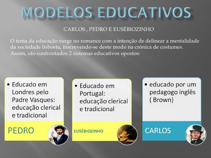 CARLOS , PEDRO E EUSÉBIOZINHO O tema da educação surge no romance com a intenção de delinear a mentalidade da sociedade li...