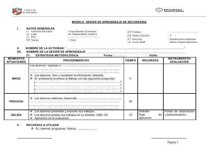 UGEL Nº 05               EL AGUSTINO                                                       MODELO SESIÓN DE APRENDIZAJE DE...