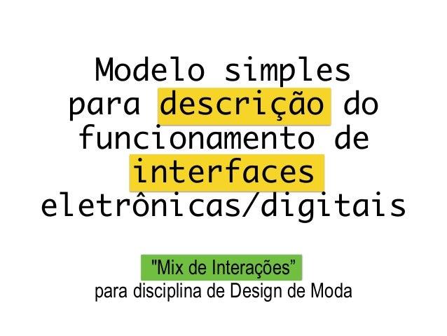 """Modelo simples  para descrição do funcionamento de interfaces eletrônicas/digitais """"Mix de Interações"""" para disciplina de..."""