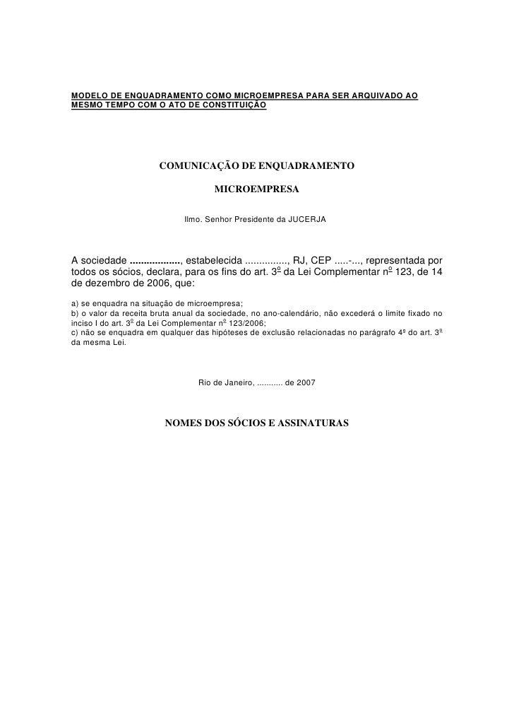 MODELO DE ENQUADRAMENTO COMO MICROEMPRESA PARA SER ARQUIVADO AOMESMO TEMPO COM O ATO DE CONSTITUIÇÃO                      ...