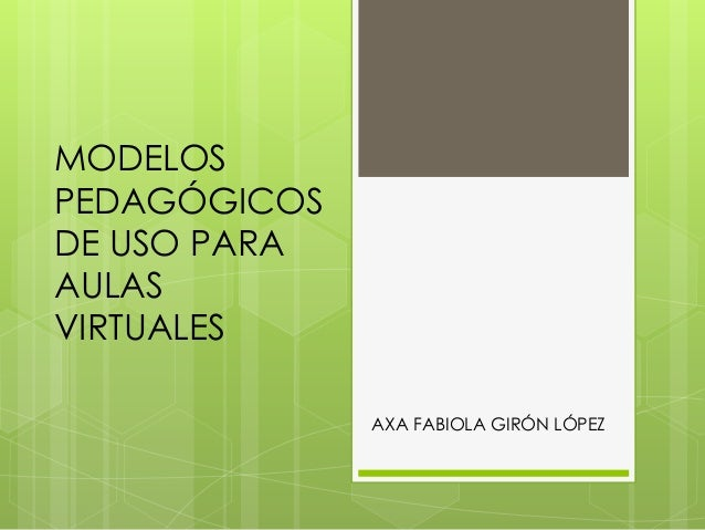 MODELOS PEDAGÓGICOS DE USO PARA AULAS VIRTUALES AXA FABIOLA GIRÓN LÓPEZ