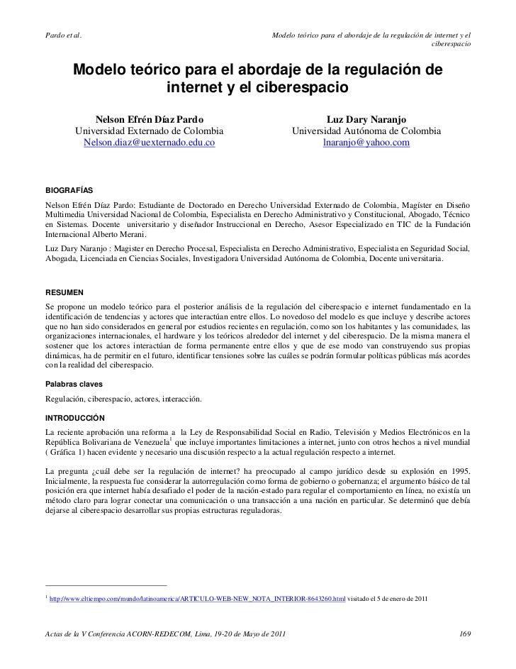 Pardo et al.                                                             Modelo teórico para el abordaje de la regulación ...