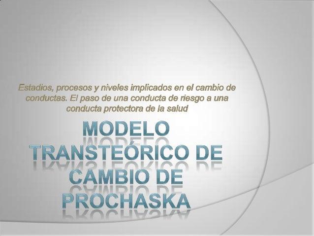  El énfasis del Modelo Transteórico de Cambioestá puesto sobre la conducta Intencional de losindividuos. Se trata de un ...