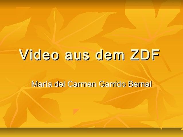 Video aus dem ZDFVideo aus dem ZDF María del Carmen Garrido BernalMaría del Carmen Garrido Bernal