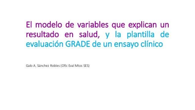 El modelo de variables que explican un resultado en salud, y la plantilla de evaluación GRADE de un ensayo clínico Galo A....