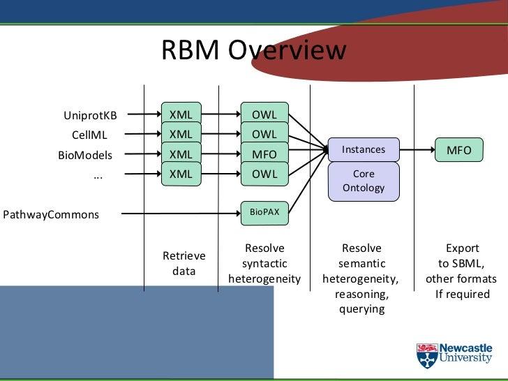 RBM (continued) <ul><li>Resolution of syntactic and semantic heterogeneity occurs separately </li><ul><li>The core ontolog...
