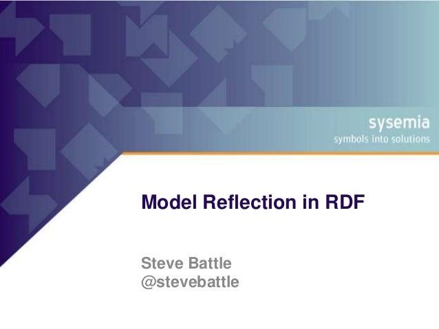 Model Reflection in RDF Steve Battle @stevebattle