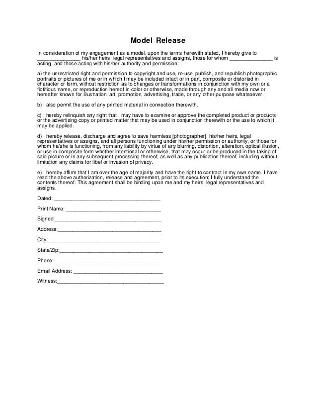 Generic Photography Model Release Form