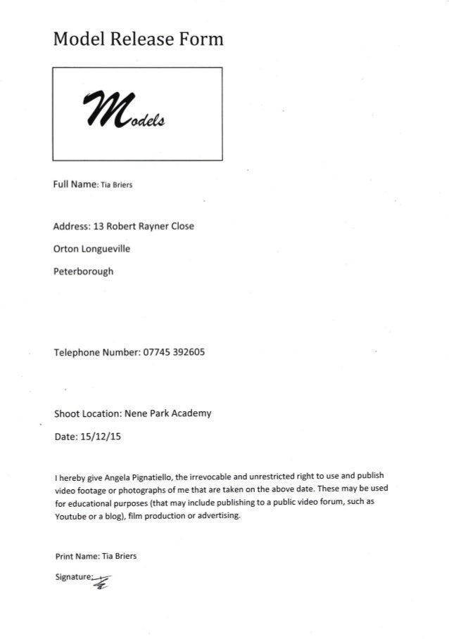 Model release form 1 signed - Tia Briers