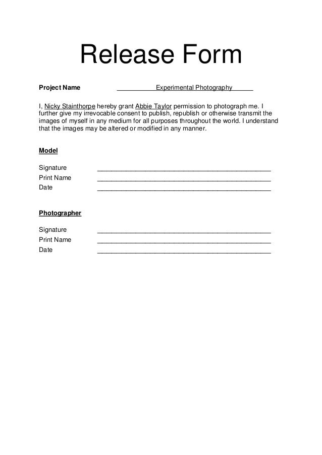 Model release form for Photography permission form template