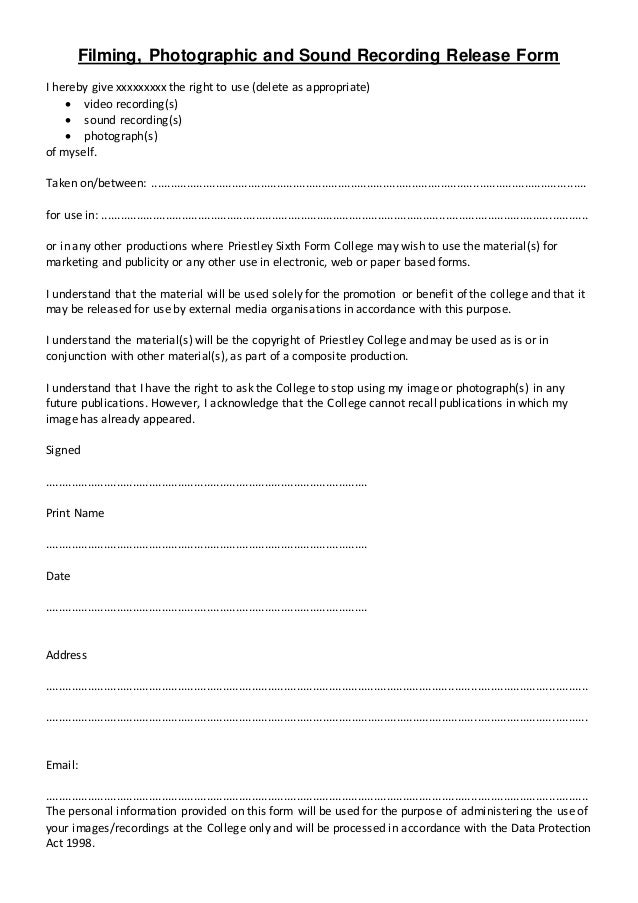 Media Release Form Media Release Form Template   Free Sample