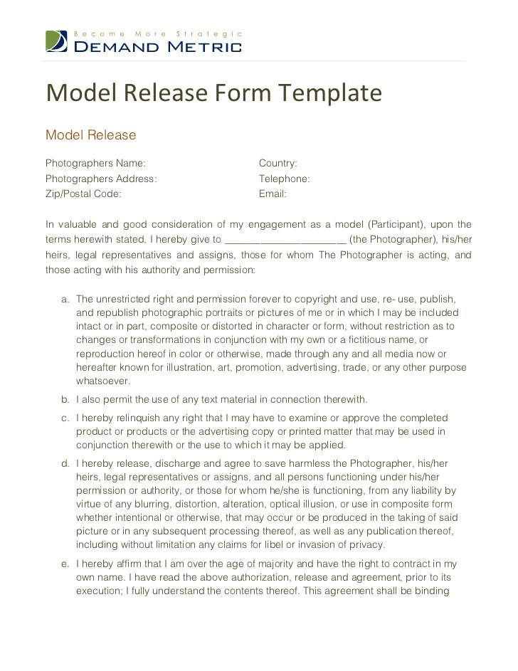 Model release form template for Photography waiver and release form template