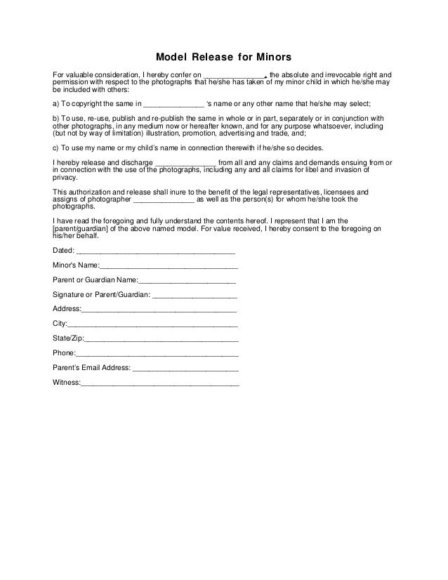 Generic Photography Model Release Form - Minor