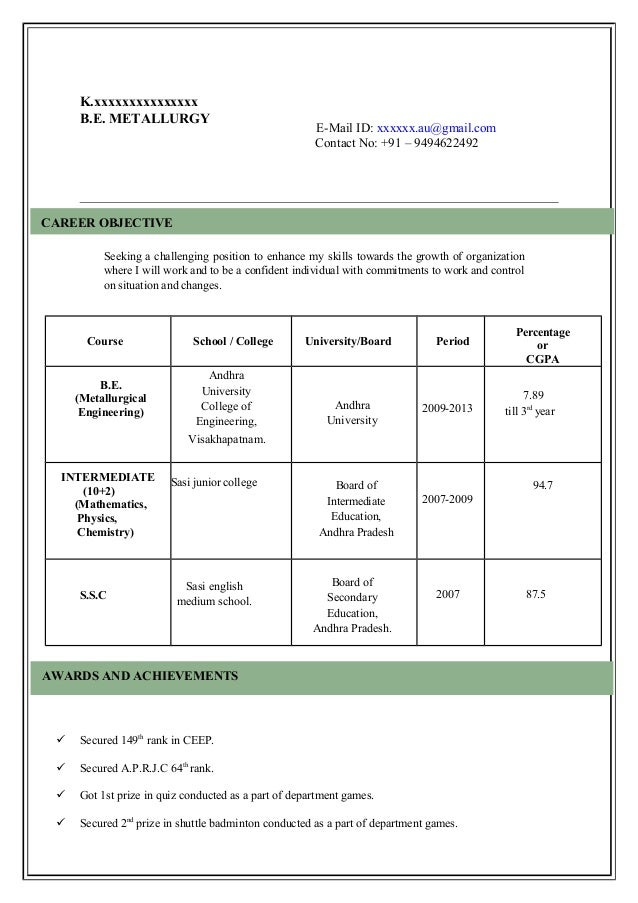 Superb Model Resume. K.xxxxxxxxxxxxxxx B.E. METALLURGY ...  Resume Model