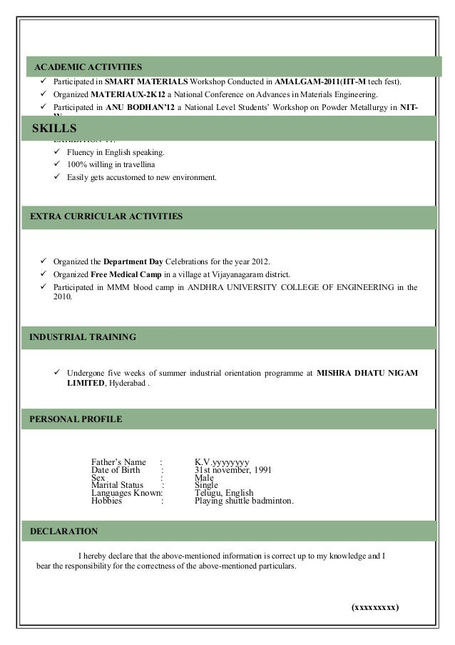 Model Resume Template Example Of Resume Resume Sample Format High