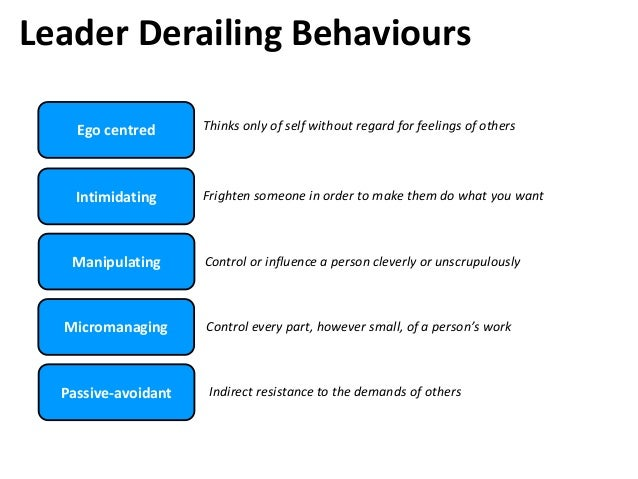 Leader Derailing Behaviours Ego centred Intimidating Manipulating Micromanaging Passive-avoidant Thinks only of self witho...