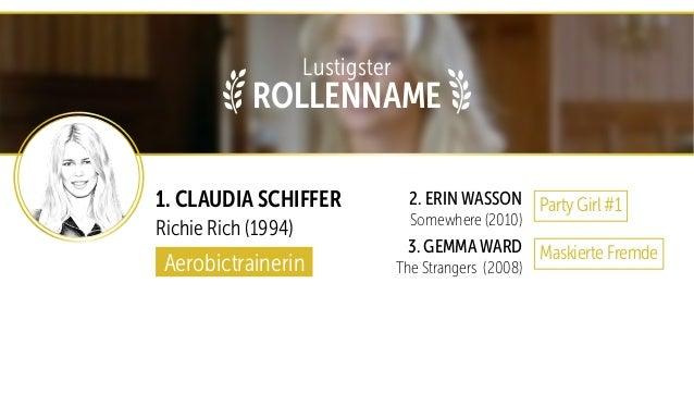 1. CLAUDIA SCHIFFER Richie Rich (1994) 2. ERIN WASSON Somewhere (2010) 3. GEMMA WARD The Strangers (2008)Aerobictrainerin ...