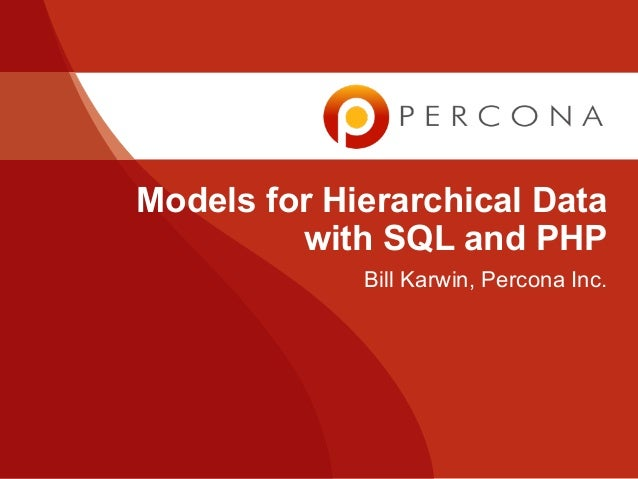 Models for Hierarchical Data with SQL and PHP Bill Karwin PHP TEK-X • Chicago • 2010/05/20