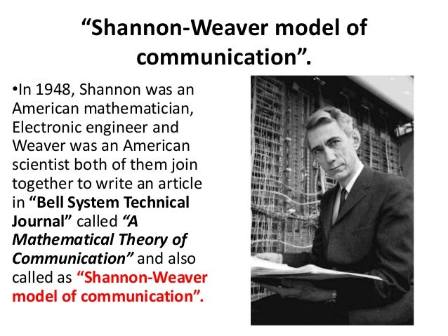 shannon and weaver mathematical theory of communication pdf