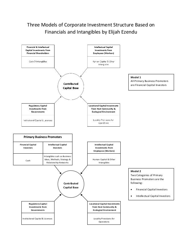 Three Models of Corporate Investment Structure Based on Financials and Intangibles by Elijah Ezendu  Model 1 All Primary B...