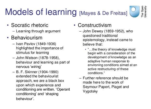 Models of learning [Mayes & De Freitas] • Socratic rhetoric – Learning through argument • Behaviourism – Ivan Pavlov (1849...