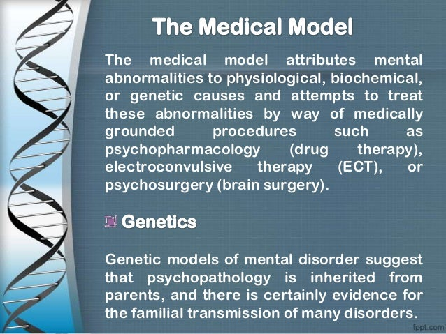 how the medical model of psychopathology Some salient features of the medical model as applied to mental illness and  psychiatry  psychopathology rather than the patient's family or the society at  large.