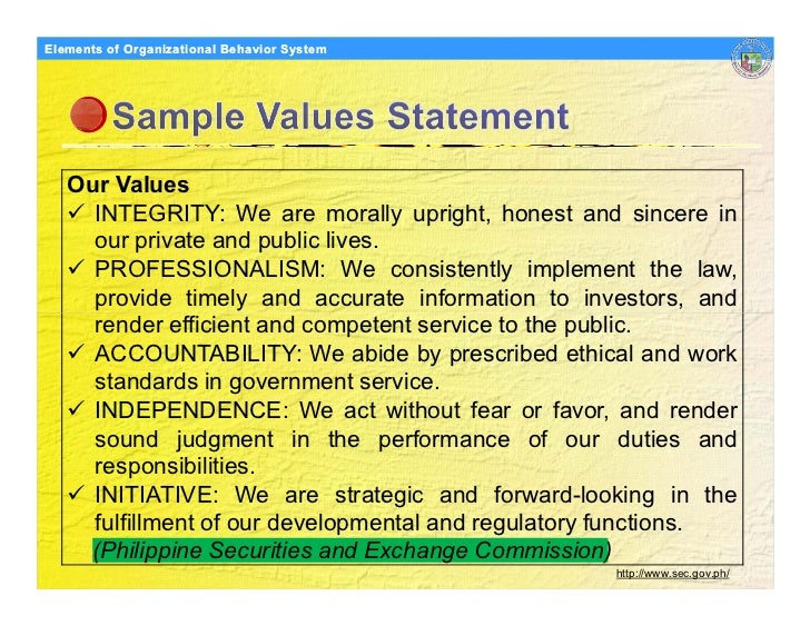 Elements Organizational Behavior Models of of Organizational Behavior System        Our Values      INTEGRITY: We are mora...