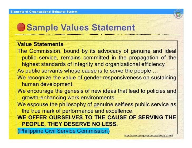 Elements Organizational Behavior Models of of Organizational Behavior System         Value Statements     The Commission, ...
