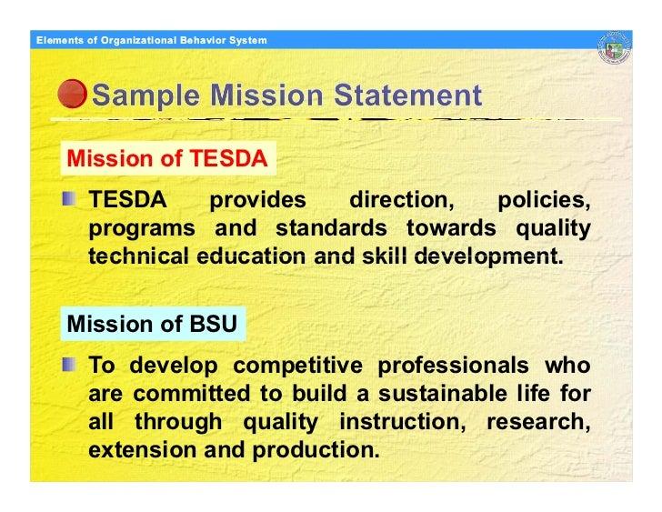 Elements Organizational Behavior Models of of Organizational Behavior System          Mission of TESDA          TESDA     ...