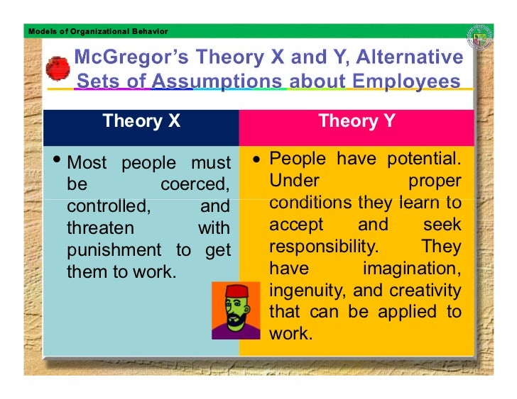 Models of Organizational Behavior                      Theory X                   Theory Y       • Most     people must   ...