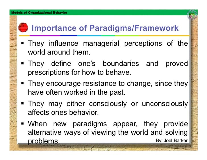 Models of Organizational Behavior              They influence managerial perceptions of the          world around them.   ...