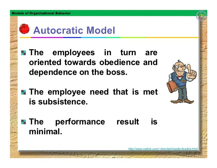 Models of Organizational Behavior              The employees in turn are          oriented towards obedience and          ...