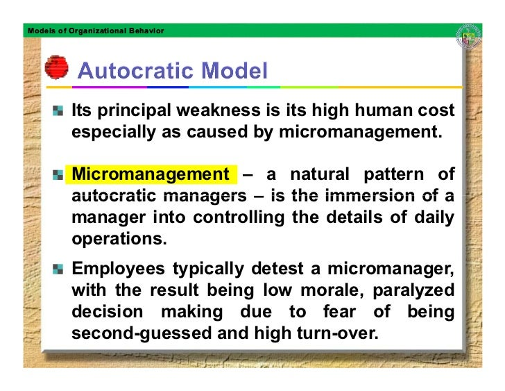 Models of Organizational Behavior               Its principal weakness is its high human cost           especially as caus...