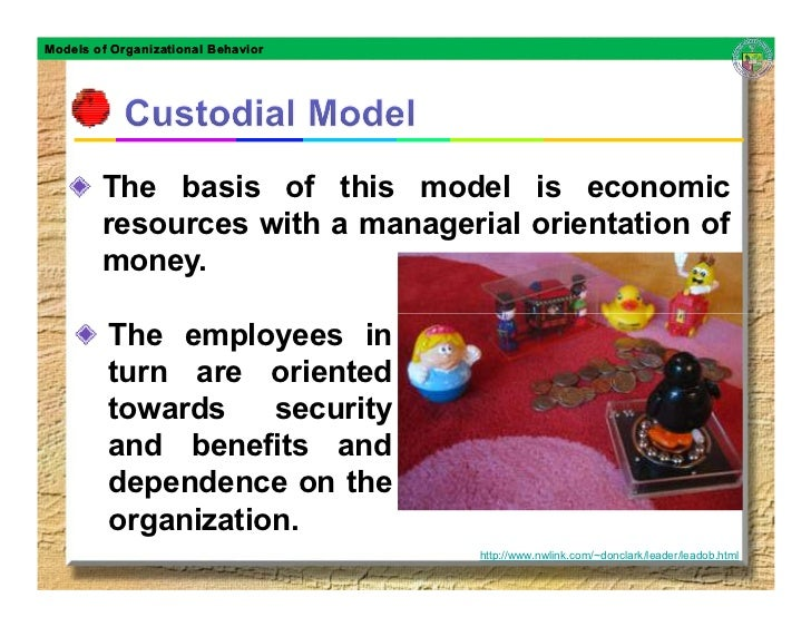 Models of Organizational Behavior             The basis of this model is economic         resources with a managerial orie...