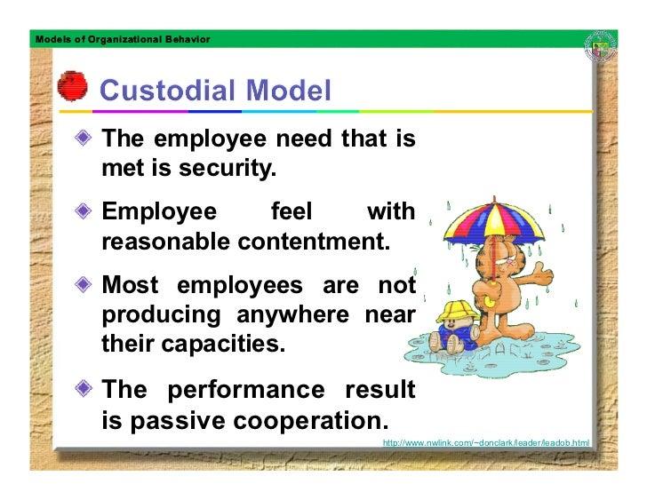 Models of Organizational Behavior                 The employee need that is             met is security.             Emplo...