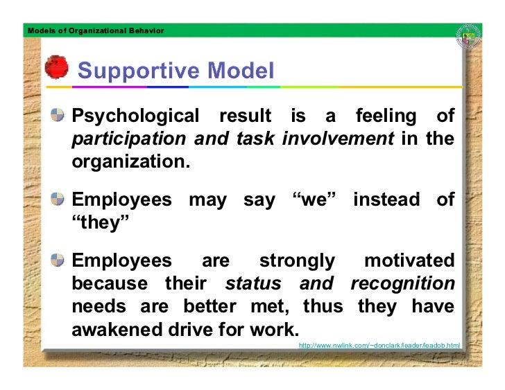 Models of Organizational Behavior               Psychological result is a feeling of           participation and task invo...