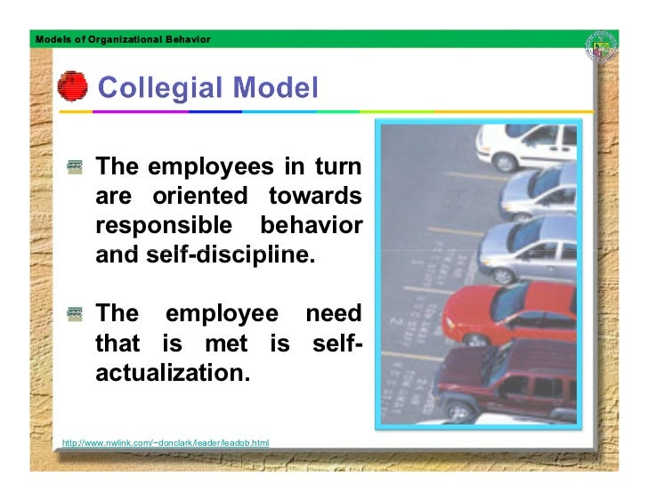 Models of Organizational Behavior                 The employees in turn             are oriented towards             respo...
