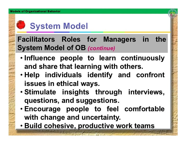 sobc model in ob The final organisational model is referred to as the system model this is the most contemporary model of the five models discussed in this article in the system model, the organisation looks at the overall structure and team environment, and considers that individuals have different goals, talents and potential.
