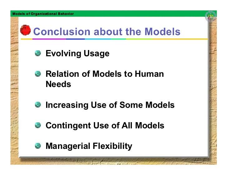 Models of Organizational Behavior                      Evolving Usage                   Relation of Models to Human       ...