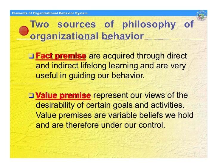 Elements Organizational Behavior Models of of Organizational Behavior System                  Fact premise are acquired th...