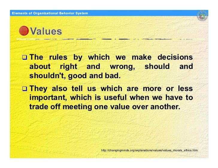 Elements Organizational Behavior Models of of Organizational Behavior System              The rules by which we make decis...