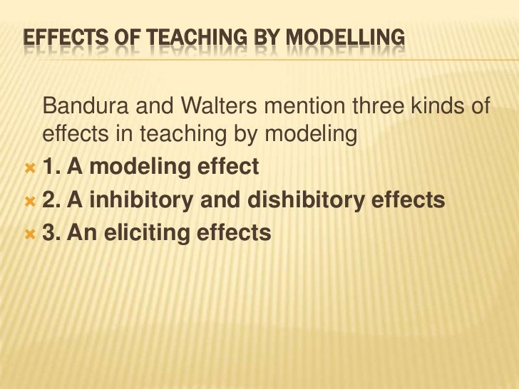 bandura s modeling effect inhibitory and disinhibitory effect and eliciting effect According to bandura, following are the distinct processes involved in  observational learning:  the dis- inhibitory effect is the opposite of it it occurs   (3) the eliciting effect: it is related to responses of the model not to his/her.