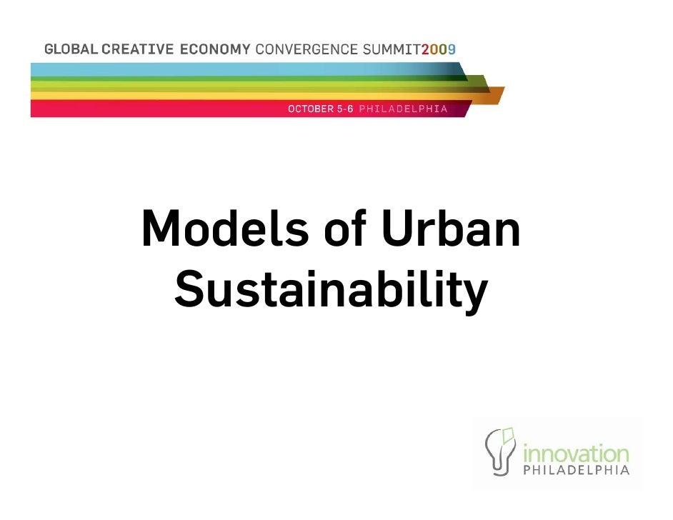 Models of Urban  Sustainability