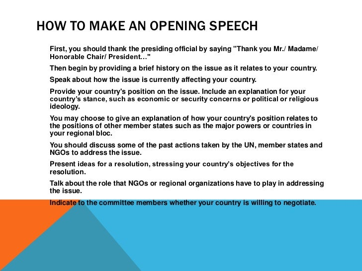Lessons from the MUN Institute: How to Write an Opening Speech