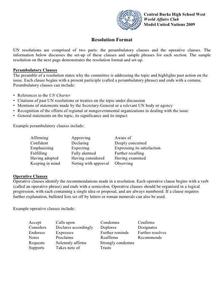 Model United Nations 2009 Packet