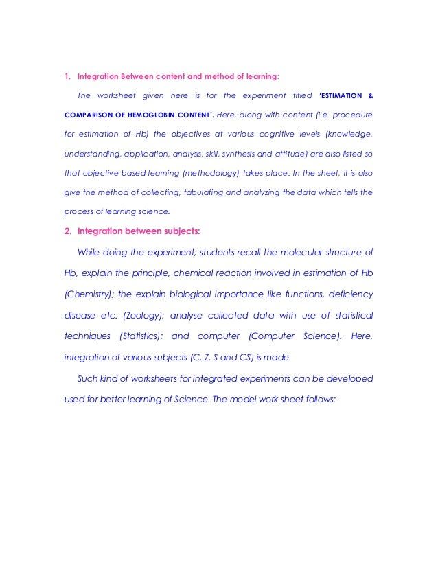 Model worksheet for integrated experiment in b.sc.ed (zoology) a pr…