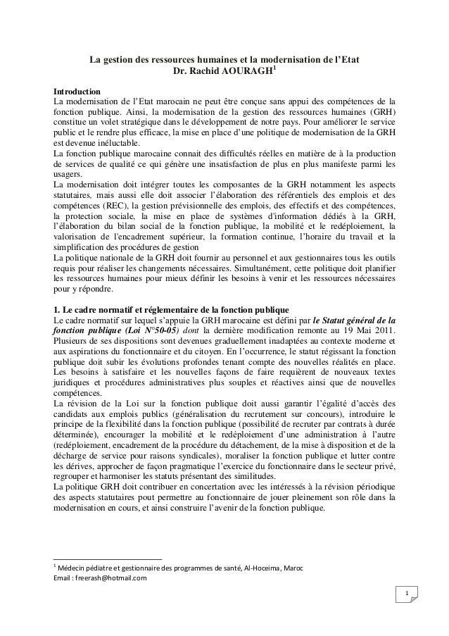 1La gestion des ressources humaines et la modernisation de l'EtatDr. Rachid AOURAGH1IntroductionLa modernisation de l'Etat...