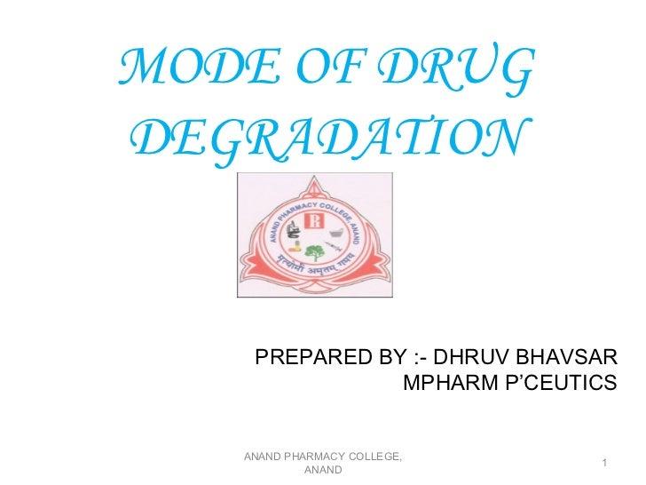 MODE OF DRUGDEGRADATION    PREPARED BY :- DHRUV BHAVSAR               MPHARM P'CEUTICS   ANAND PHARMACY COLLEGE,          ...