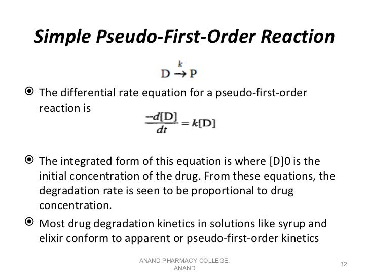 Simple Pseudo-First-Order Reaction The differential rate equation for a pseudo-first-order  reaction is The integrated f...