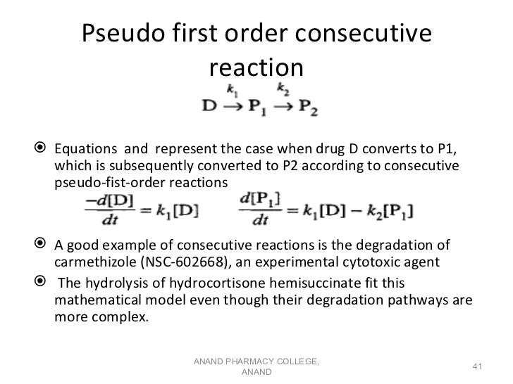 Pseudo first order consecutive                  reaction Equations and represent the case when drug D converts to P1,  wh...